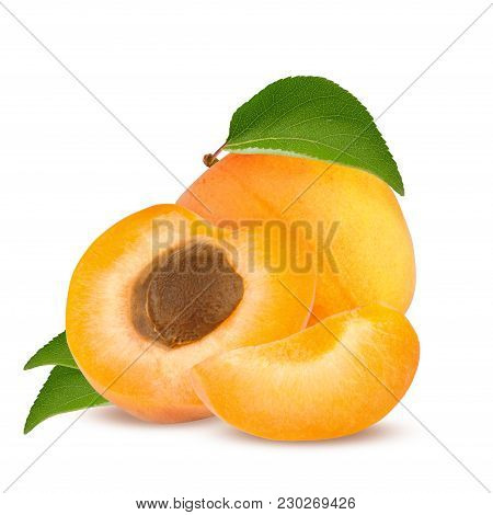 Isolated Apricot. Fresh Cut Apricot Fruits Isolated On White Background, With Clipping Path.