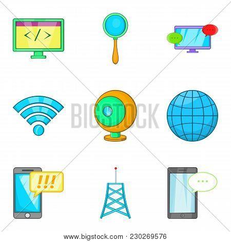 Correction Website Icons Set. Cartoon Set Of 9 Correction Website Vector Icons For Web Isolated On W