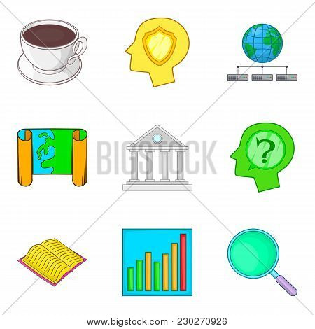 Objective Icons Set. Cartoon Set Of 9 Objective Vector Icons For Web Isolated On White Background