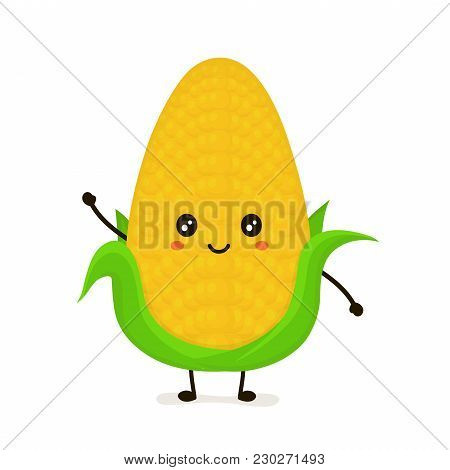 Funny Happy Cute Smiling Corncob. Vector Flat Cartoon Character Illustration Icon. Isolated On White