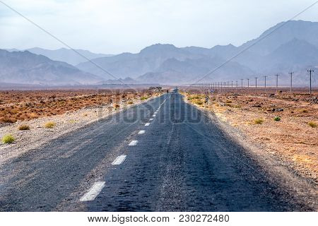 Isfahan Province, Iran - October 19, 2016: Road In Natanz County, Iran