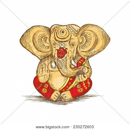 Hindu God Ganesha - Vector Sketch Illustration