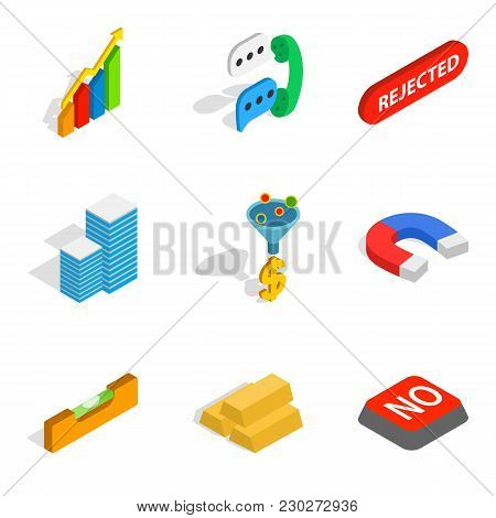 Commercial Idea Icons Set. Isometric Set Of 9 Commercial Idea Vector Icons For Web Isolated On White