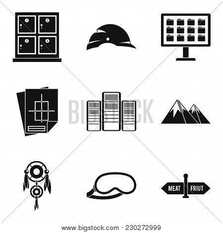 Travel To The Mountain Icons Set. Simple Set Of 9 Travel To The Mountain Vector Icons For Web Isolat