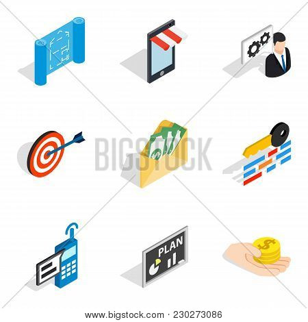 Entrepreneurial Idea Icons Set. Isometric Set Of 9 Entrepreneurial Idea Vector Icons For Web Isolate