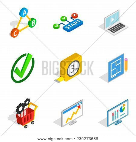 Firm Contractor Icons Set. Isometric Set Of 9 Firm Contractor Vector Icons For Web Isolated On White