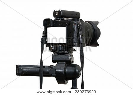 A Professional Digital Mirrorless Camera On Tripod On White Background, Camera For Photographer Or V