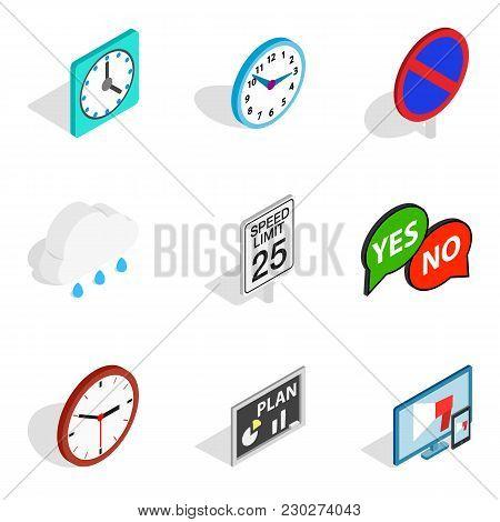Indicator Icons Set. Isometric Set Of 9 Indicator Vector Icons For Web Isolated On White Background