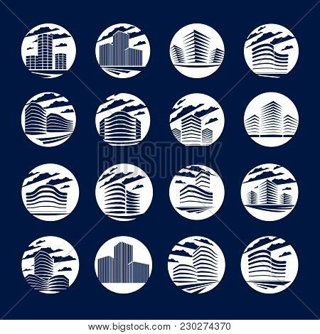 Office Building Round Shape Icons Or Logo Set, Modern Architecture Vector Illustrations Collection.