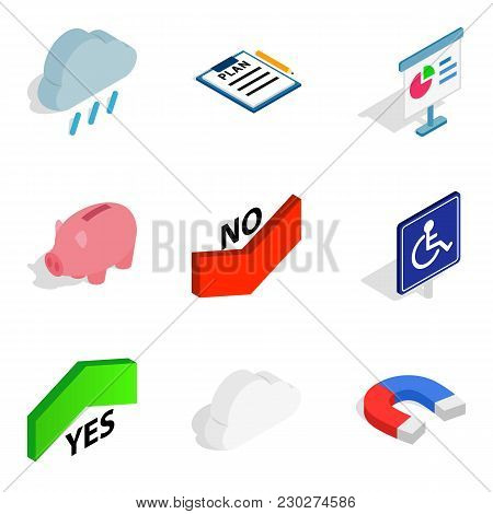Alarm Icons Set. Isometric Set Of 9 Alarm Vector Icons For Web Isolated On White Background