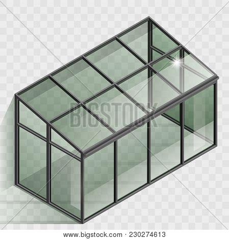 Greenhouse Or Winter Garden. Covered Veranda For Plants. Glass Dome. Modern Architecture. Vector Gra