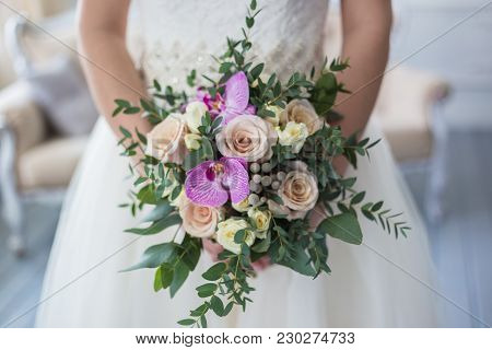 Wedding Symbols, Attributes. Holiday, Celebration.  Wedding. Wedding Picture. Bride And Flowers. Bri