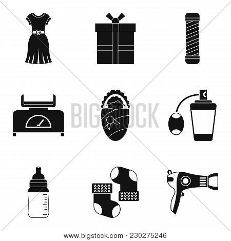 Feminine Icons Set. Simple Set Of 9 Feminine Vector Icons For Web Isolated On White Background