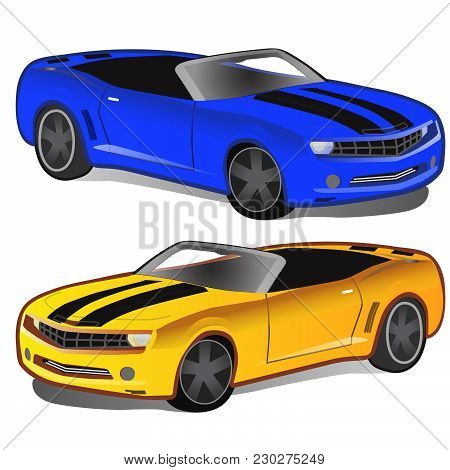 Yellow And Blue Sports Car Isolated On White Background. Vector Cartoon Close-up Illustration.