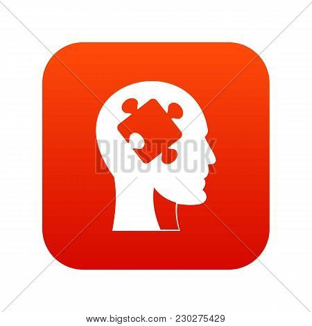 Head With Puzzle Icon Digital Red For Any Design Isolated On White Vector Illustration