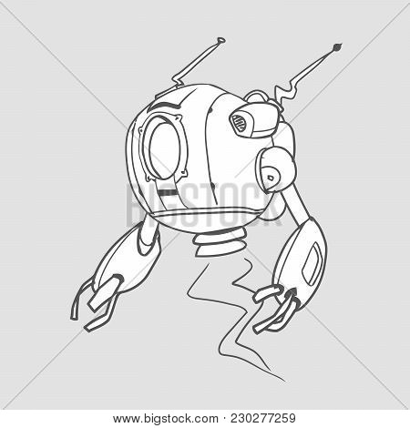 Flying Spherical Robot. Contour Vector Illustration For Coloring Book, Isolated.