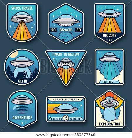 Alien Spaceship, Spacecrafts And Ufo Emblems Set. Cosmic Ship In Form Saucer For Transportation. Col