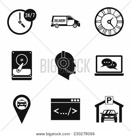 Working Hours Icons Set. Simple Set Of 9 Working Hours Vector Icons For Web Isolated On White Backgr