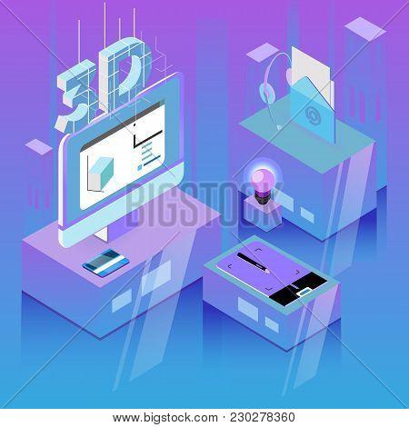 Isometric Designer Workplace, 3d Design Workplace, Vector Illustration.