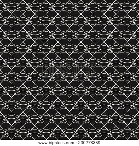 Subtle Vector Background. Abstract Geometric Seamless Pattern With Thin Curved Lines, Weaving, Mesh,