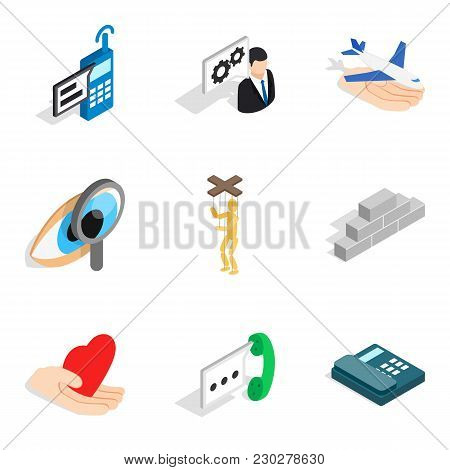 Stress Conditions Icons Set. Isometric Set Of 9 Stress Conditions Vector Icons For Web Isolated On W