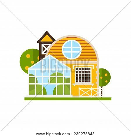 Rural Cottage And Greenhouse, Farm Buildings, Countryside Construction Vector Illustrations Isolated