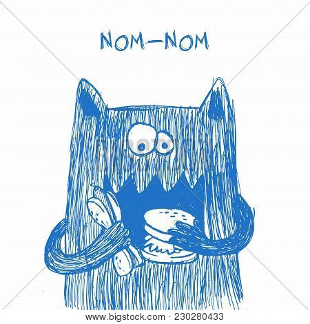 Doodle Monster. Hand Drawn Sketch Illustration. Funny Character Drawn With Blue Pen Isolated On A Wh