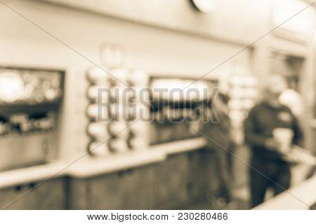 Blurred Motion Customer At Gas Station Sugar Drink Fountain
