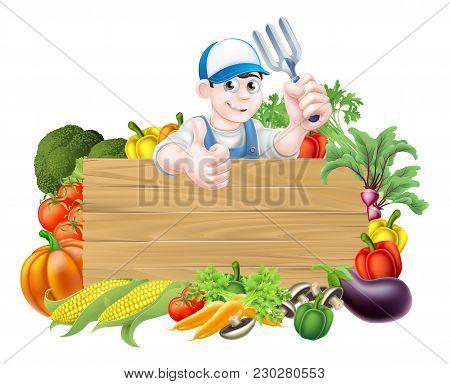 Vegetable Gardener Sign. A Cartoon Gardener  Holding A Garden Fork Tool Above A Wooden Sign Surround