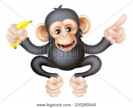 Cartoon Chimp Monkey Like Character Mascot Holding A Banana And Pointing