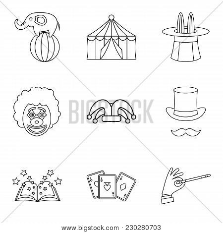 Circus Show Icons Set. Outline Set Of 9 Circus Show Vector Icons For Web Isolated On White Backgroun