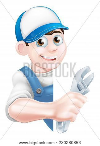 Cartoon Plumber Or Auto Repair Mechanic Service Handyman Worker Man Peeking Round Sign And Holding A
