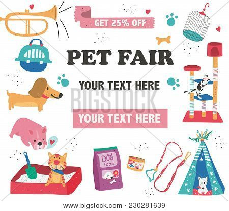Doodle Drawing Pet Fair Poster Template, Text Surrounded With Pet Care, Supplies, And Cute Animals O