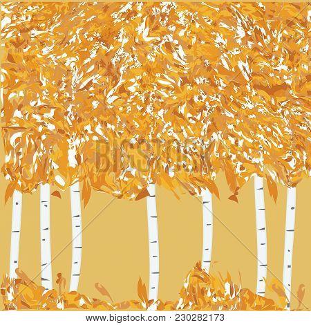 Autumn Banner - Birch Grove, Yellow Leaves, Grass - Grunge Style - Art Creative Modern Illustration,