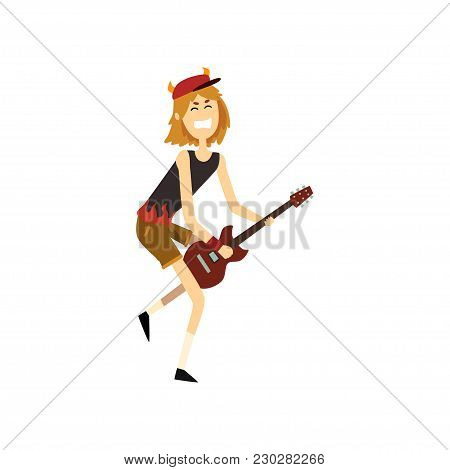 Teen Boy Playing On Guitar. Young Guitarist Performing On Stage. Cartoon Kid Character In Cap With H