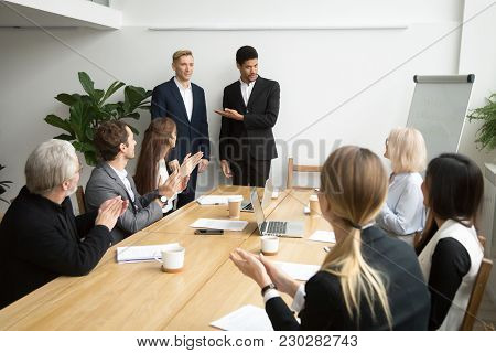 African American Boss Or Black Hr Executive Ceo Introducing New Hire Employee To Corporate Team Appl