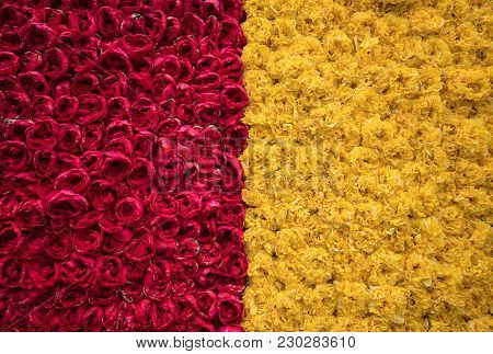 Abstract Background . Close-up Of Red And Yellow Tulips Flowers