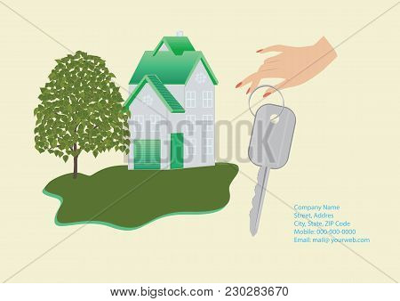 Banner Companies Selling, Buying, Leasing Real Estate - House, Female Hand Holding A Key, Details Fo
