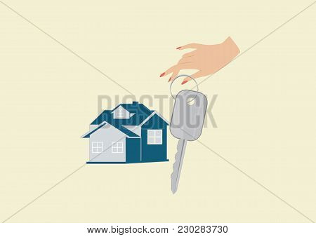 Banner Companies Selling, Buying, Leasing Real Estate - Cottage, Female Hand Holding A Key, - Isolat