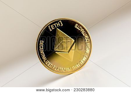 Single Ethereum Coin On The Surface Cryptocurrency