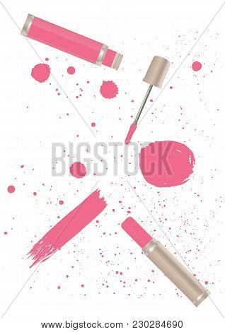 Set - Lipstick Tube, Liquid Lipstick, Watercolor Stains, Spray, Brush Stroke In Grunge Style - Pink