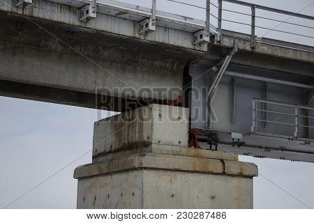 Railway bridge. New rail bridge. Railroad bridge. Rail bridge. Grunge railway bridge. Grunge background.