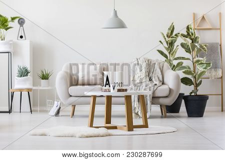 Wooden Table In The Centre