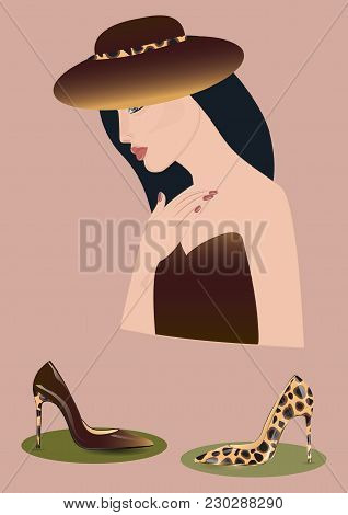 Woman In Hat In Tone Under Leapard Shoes Lacquered Realistic On High Heels - Art Abstract Creative M