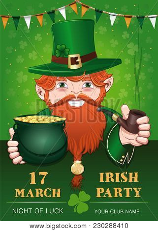 Poster For St. Patricks Day With Leprechaun. 17 March. Irish Party. Cheerful Leprechaun With A Pot O