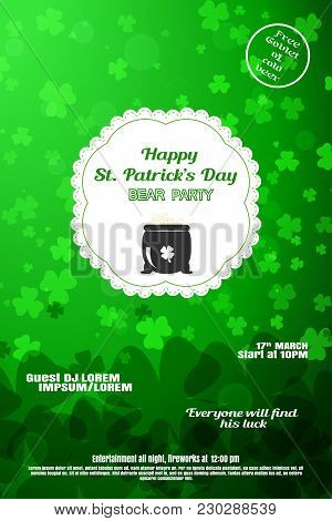 Vector Happy St. Patrick's Day Beer Party Poster On The Gradient Green Background With Leaves Of Clo