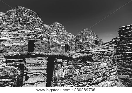 Black And White Skellig Michael, Unesco World Heritage Site, Kerry, Ireland. Star Wars The Force Awa