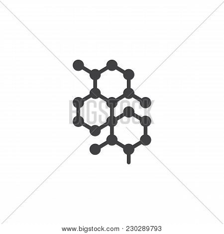Molecular Structure Vector Icon. Filled Flat Sign For Mobile Concept And Web Design. Chemical Formul
