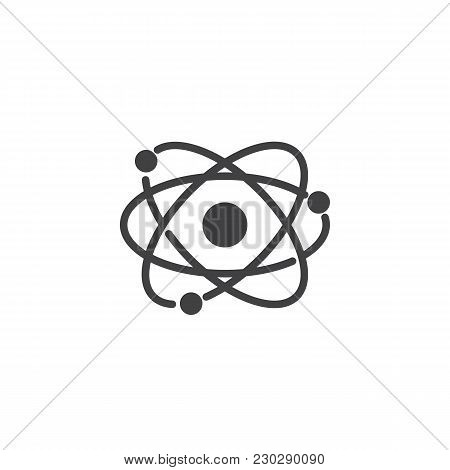 Atom Structure Vector Icon. Filled Flat Sign For Mobile Concept And Web Design. Molecular Modeling S