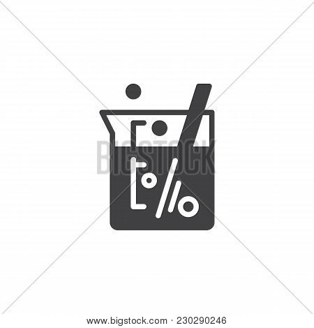 Laboratory Beaker Vector Icon. Filled Flat Sign For Mobile Concept And Web Design. Chemical Experime